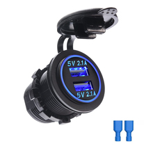 Dual USB Charger Socket Waterproof Power Outlet Adapter 4.2A Fast Charge for Car Boat Marine Motorcycle ATV RV Camper Tractor