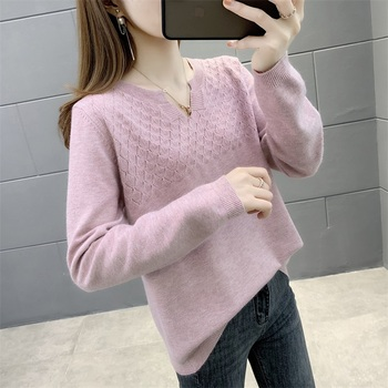 (west room upstairs 1 ranked no. 4) the autumn new sweater long-sleeved v-neck cultivate morality singleton female 50 image