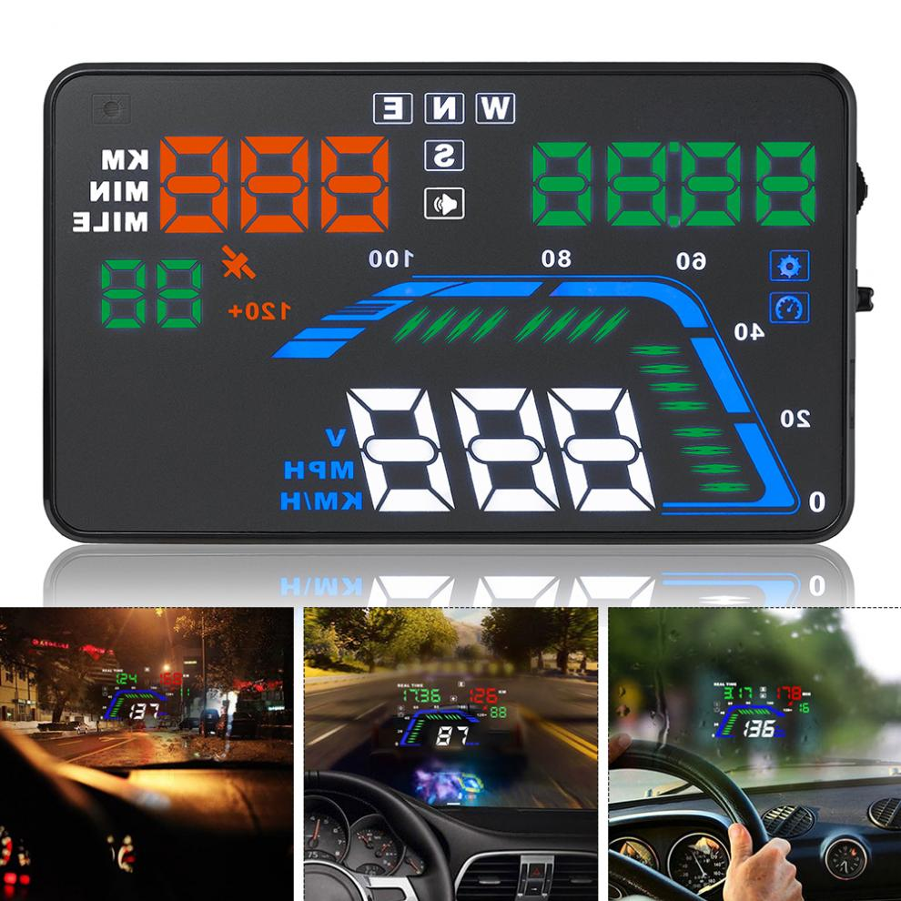 Universel 5.5 pouces Q7 Auto voiture HUD GPS affichage tête haute compteurs de vitesse avertissement de survitesse tableau de bord pare-brise projecteur