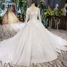 HTL187G simple wedding dresses long sleeve handmade flowers appliques big o neck wedding gown 2020 new fashion vestido de noiva