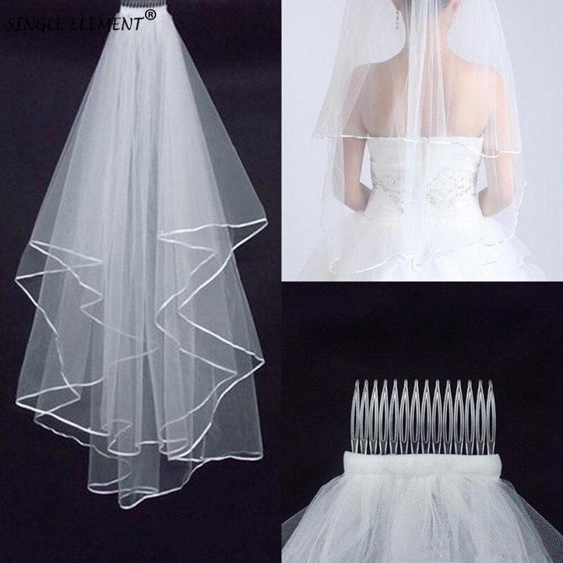 2 Tier Bridal Veil Beautiful Ivory Short Wedding Veils Satin Edge With Comb Bride Veils
