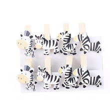 8Pcs/lot DIY Photo Wooden Clip Cute Zebra Duck Panda Elephant Clothespin Picture Craft Clips Clothes Paper Peg Party Decoration(China)