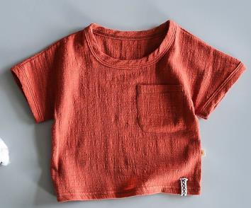 Японская хлопковая тонкая футболка в стиле ретро с коротким рукавом из конопли для малышей летняя рубашка из бамбукового хлопка с коротким рукавом для мальчиков и девочек - Цвет: Черный