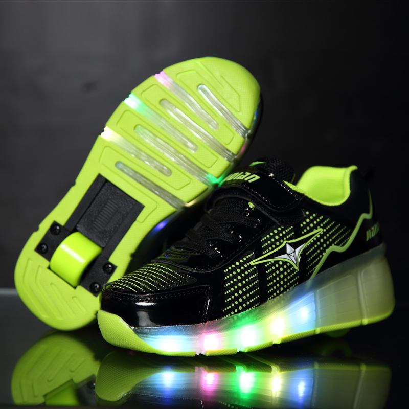 Pink Green Blue Cheap Child Fashion Girls Boys LED Light Roller Skate Shoes For Children Kids Sneakers With Wheels One Wheels