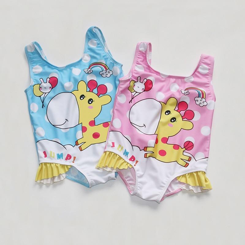 2019 Новый стиль корейский стиль милый детский купальник мультфильм Жираф треугольный цельный модный детский купальник производители