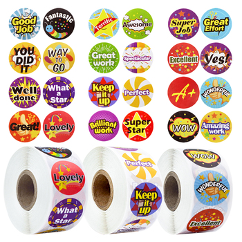 Colorful Round Reward Stickers with Cute Word for School Reward Student Office Motivational Stickers Label 500 Pcs/Roll 1Inch 500 pcs roll zoo cartoon animal stickers 8 design stickers for children s classic toys stickers school reward kids stickers