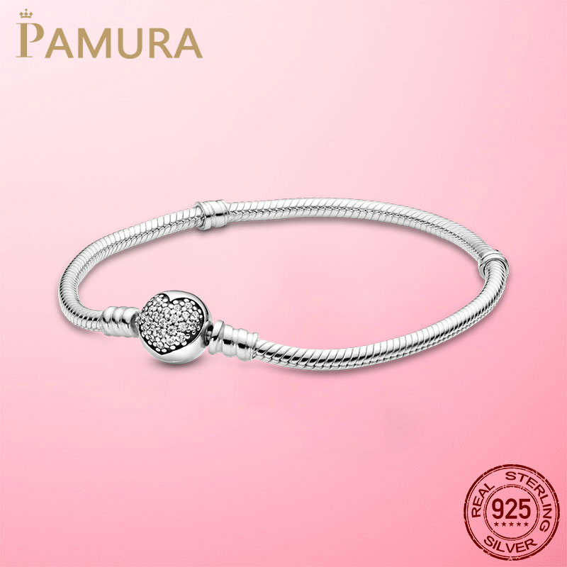 Hot Sale 925 Sterling Silver Sparkling Heart Clasp Snake Chain Bracelet For Women For Original DIY Charm Beads Jewelry