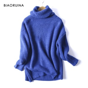 Image 1 - BIAORUINA Women Oversize Basic Knitted Turtleneck Sweater Female Solid Turtleneck Collar Pullovers Warm 2020 New Arrival