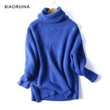 REJINAPYO femmes surdimensionné basique tricoté pull à col roulé femme solide col roulé pulls chaud 2020 nouveauté
