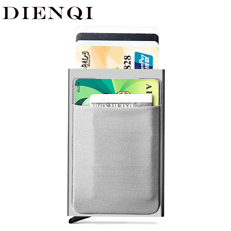Antitheft Id Credit Card Holder Men Blocking Rfid Wallet Security Aluminum Metal Bank Business Cardholder Pass Minimalist Wallet