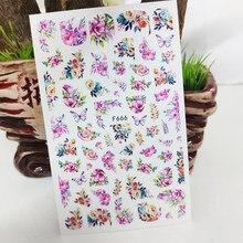 Adesivi per unghie 3D decalcomanie moda farfalla fiori decorazioni per Nail Art adesivi cursori accessori per Manicure decorazioni per unghie