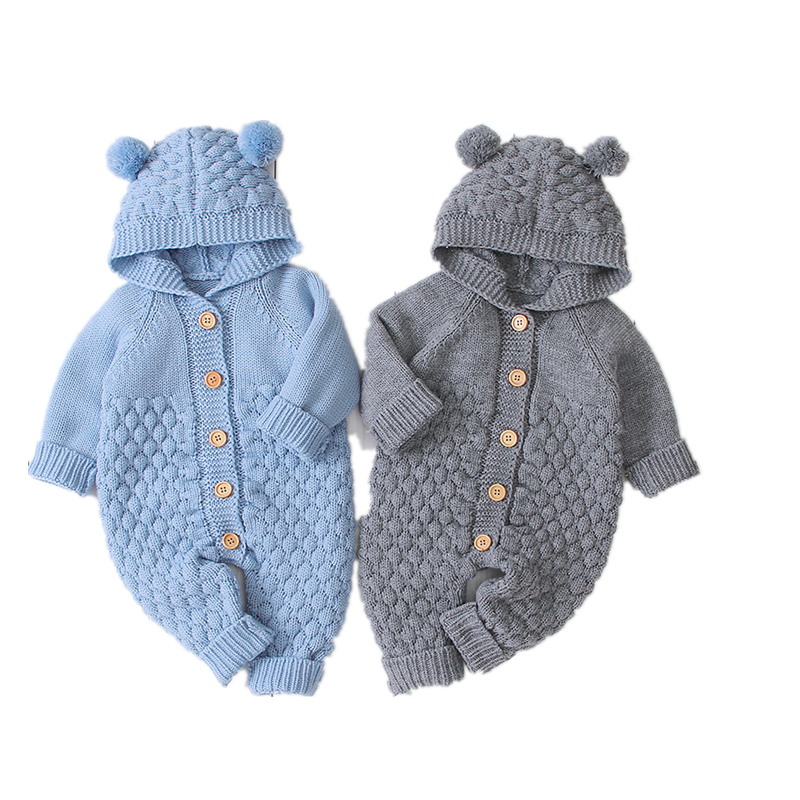 Baby   Rompers   Knitted Long Sleeve Knit Newborn baby Boys Girls Jumpsuits Autumn Winter Toddler Children Overalls Clothing