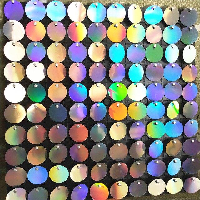64 шт. Серебряная голограмма фоновая доска с ПЭТ круглые Блестки для свадебных фонов сценические декоративные пластины панели