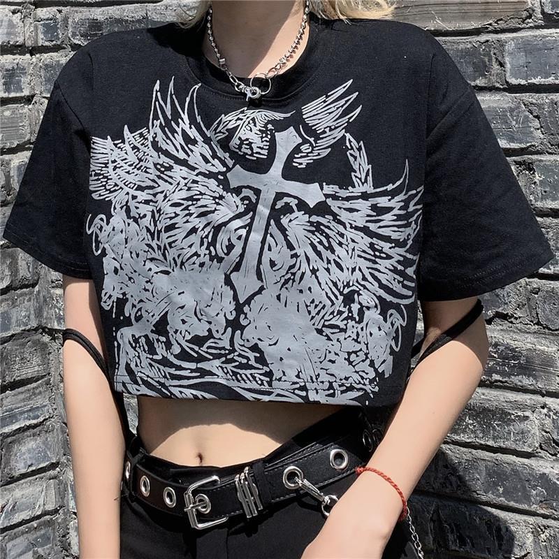 Укороченный топ в стиле Харадзюку, футболка с графическим рисунком, топы для женщин, Корейская короткая футболка, летняя свободная футболка...