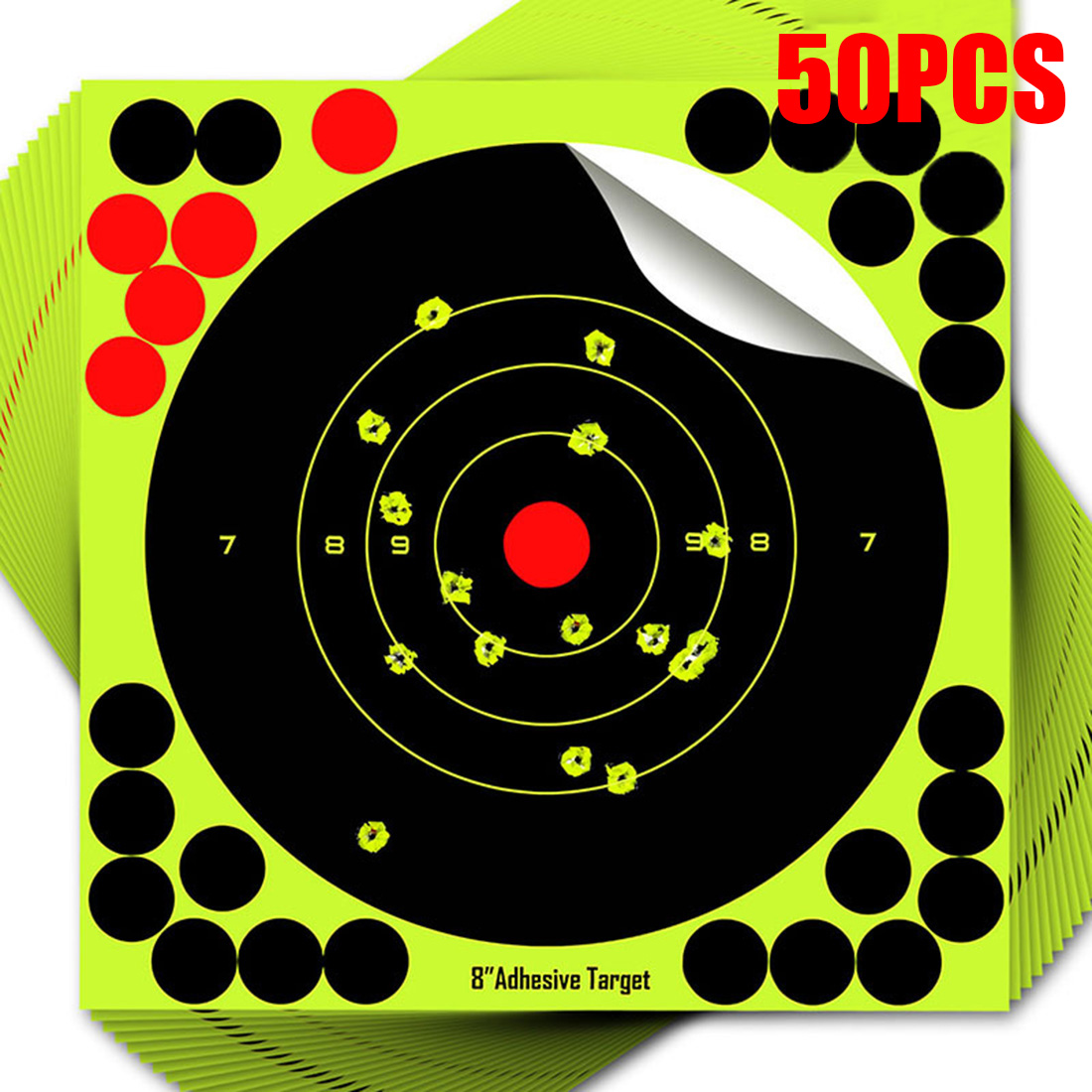 50pcs 8 inch Round Target Paper Practice Reactive Glow Shot Rifle Florescent Removable Target Papers For Shooting Training