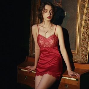 Image 1 - 夏セクシーなランジェリー女性絹のような通気性のタイトな誘惑夫ショートストラップ寝間着女性メッシュレースサテン寝間着