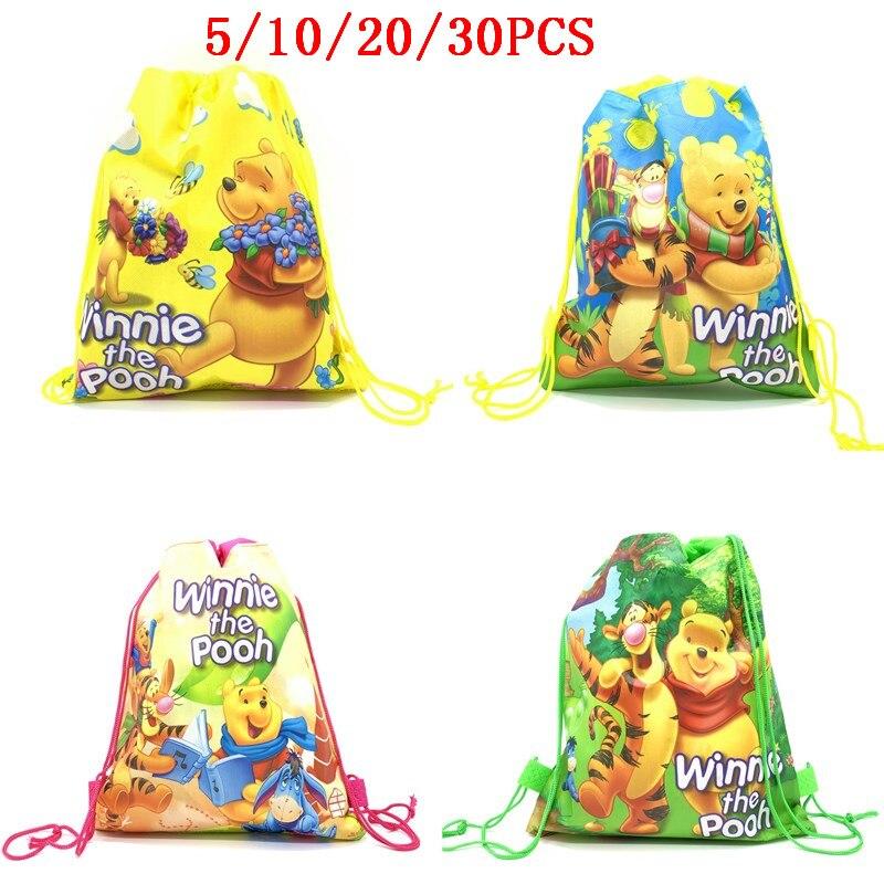5/10/20/30PCS Non-woven Fabric Travel School Bags For Kids DISNEY Winnie The Pooh Drawstring Backpacks Birthday Return Gifts