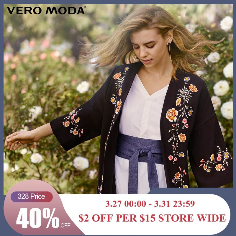 Vero Moda Floral Embroidered Drop Shoulder Sleeve Chiffon Jacket | 318121549
