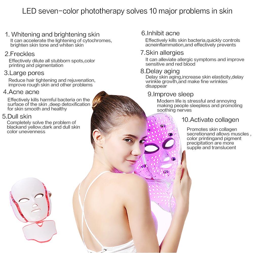 7 farben Led Photon Therapie Gesichts Maske mit Neck Gesicht Bleaching Haut Verjüngung Anti Falten Akne Gesicht Spa Schönheit Maschine