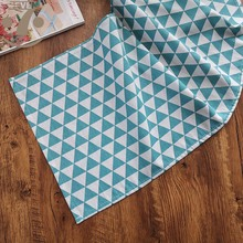 Free Shipping Home Decorative Gray light blue Geometric Pattern Cotton Linen Table Runner