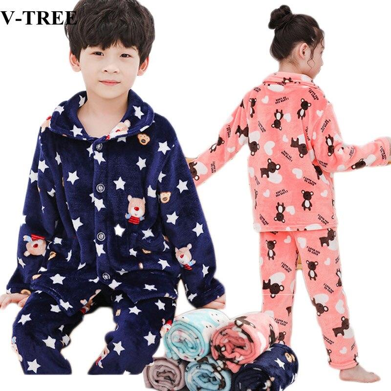 Зимняя детская одежда для сна фланелевые пижамы, комплекты для девочек, пижама с рисунком для мальчиков, плотные детские пижамы, одежда для подростков