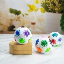 Antistres küp gökkuşağı topu bulmacalar futbol sihirli küp eğitici öğretici oyuncaklar çocuklar için yetişkin çocuklar stres rahatlatıcı oyuncaklar