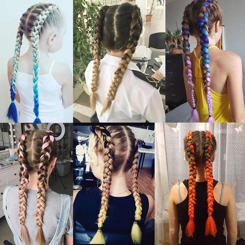 Warkocze syntetyczne z długich włosów Jumbo szydełkowe warkocze 24 Cal 100 g/sztuka czarny brązowy różowy kolor ombre aktualizacji włosy plecione przedłużanie włosów