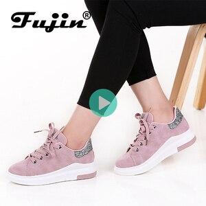 Image 1 - Fujin marca 2020 otoño zapatos de mujer Zapatillas suaves cómodos zapatos casuales moda señora Flats zapatos femeninos para mujeres PU