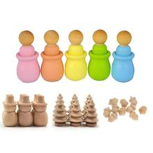 10pcs Wooden Hand-painted DIY Craft Snowman Christmas Tree Pineapple Party Decoration Suitable For Kids Family Activities