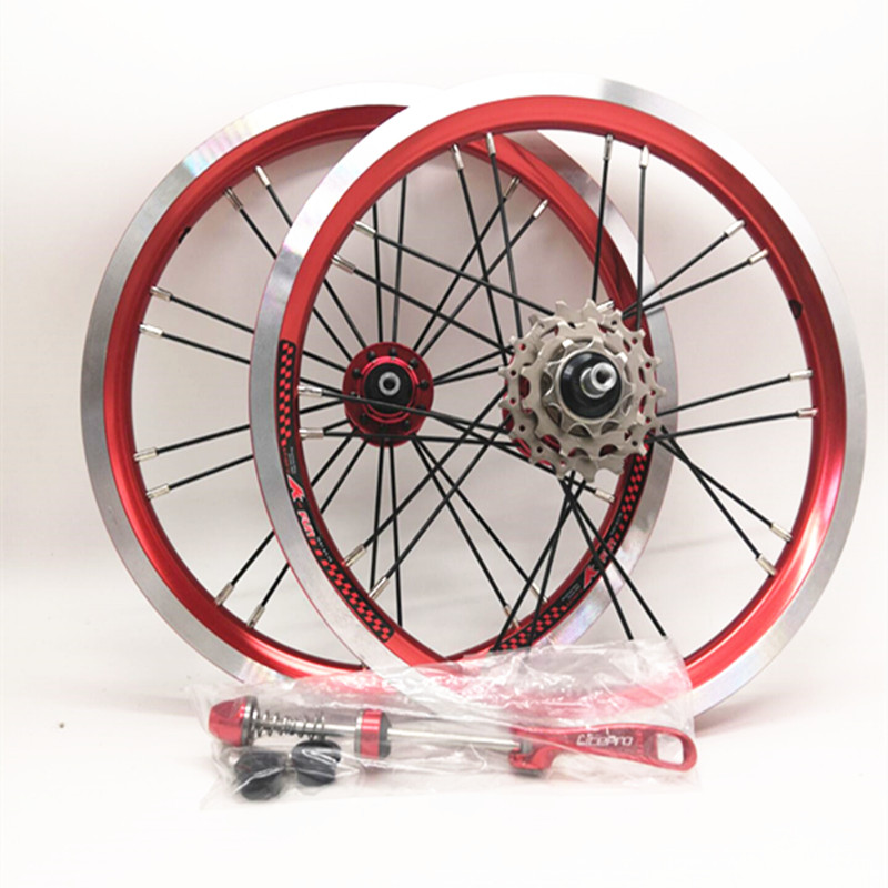 Litepro <font><b>14</b></font>/16inch Folding Bicycle 412 Wheelset Outer 3 Shifter Wheelset Three Speed Bike Wheels <font><b>Rim</b></font> image