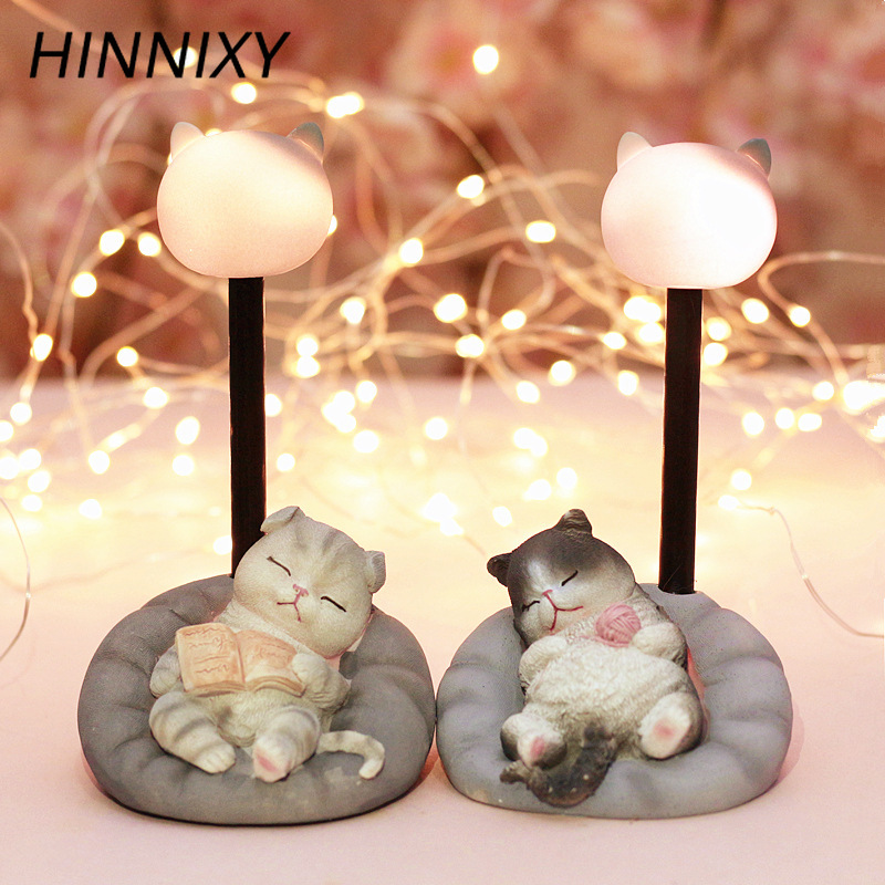 Hinnixy Animal Resin Night Light TV Cat Unicorn Table Lamp Baby Birthday Gift Girls Children Bedroom Decor Luminaria Ornaments