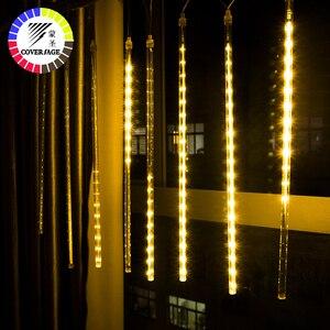 Image 4 - Coversage natal ao ar livre guirlanda luz led string fariy luzes decorativas 30 cm 50 cm chuva chuva chuveiro decorações do tubo