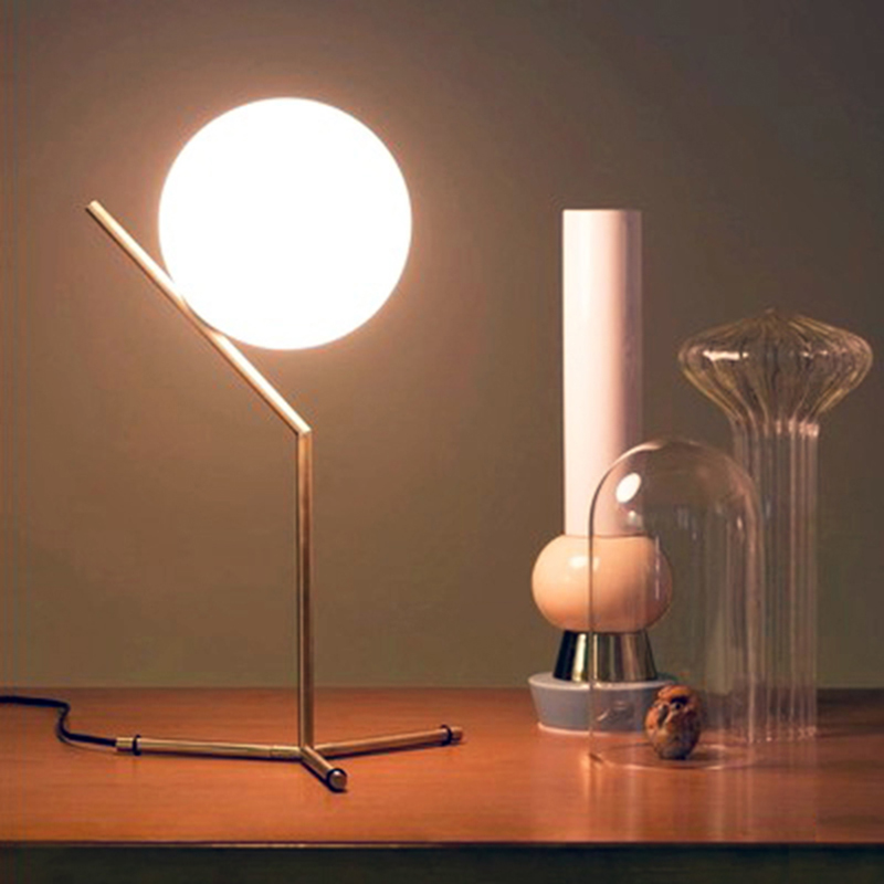 Modern Glass Ball Table Lamp Art Deco LED Table Light For Bedroom Bedside  Nordic Ball LED Table Lamp Fixture  Home Indoor plywood