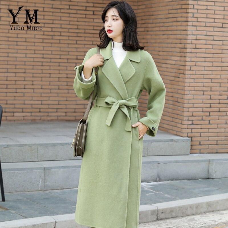 YuooMuoo Fashion Women Streetwear Wool Coat Winter 2019 New Turn Down Collar Elegant Coat with Belt Long Green Woolen Coat