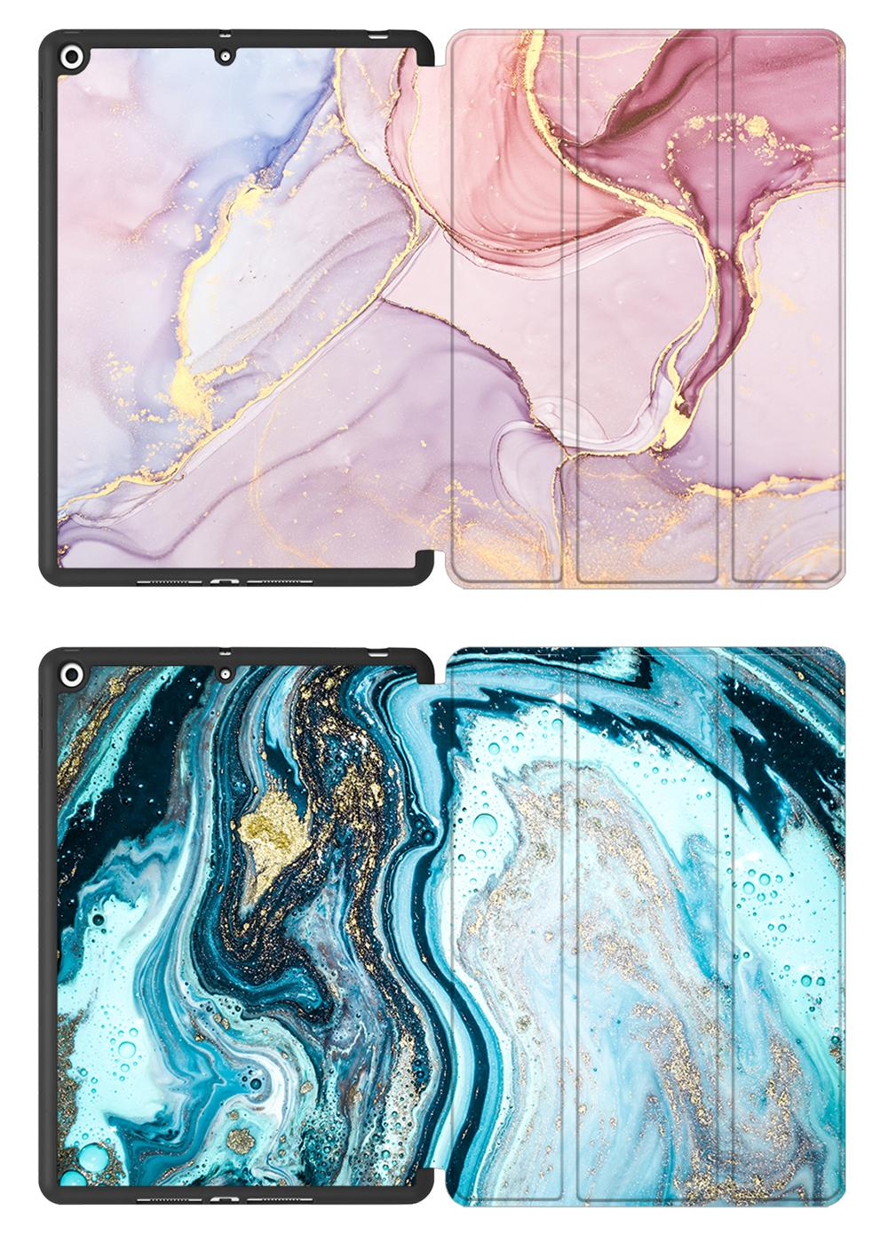 Flip Back Stand Soft Marble Gen iPad 8th 7th MTT Leather Case TPU inch Smart 10.2 PU For