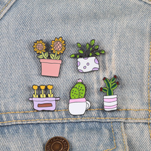 Миниатюрное растение, эмалированная булавка, мультфильм, кактус, броши, Подсолнух, женские джинсовые куртки, джинсовые нагрудные булавки, значки на шляпу, детские ювелирные изделия, подарок для детей