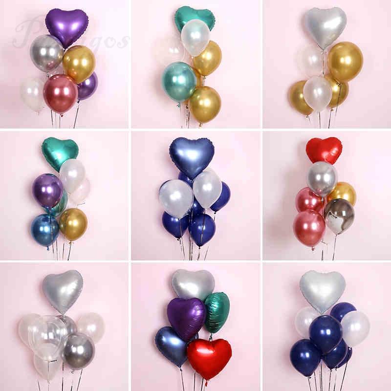 7pcs 18 inch Metallic heart balloon gold chrome navy blue latex balloon birthday Party valentine wedding decor Anniversary globo
