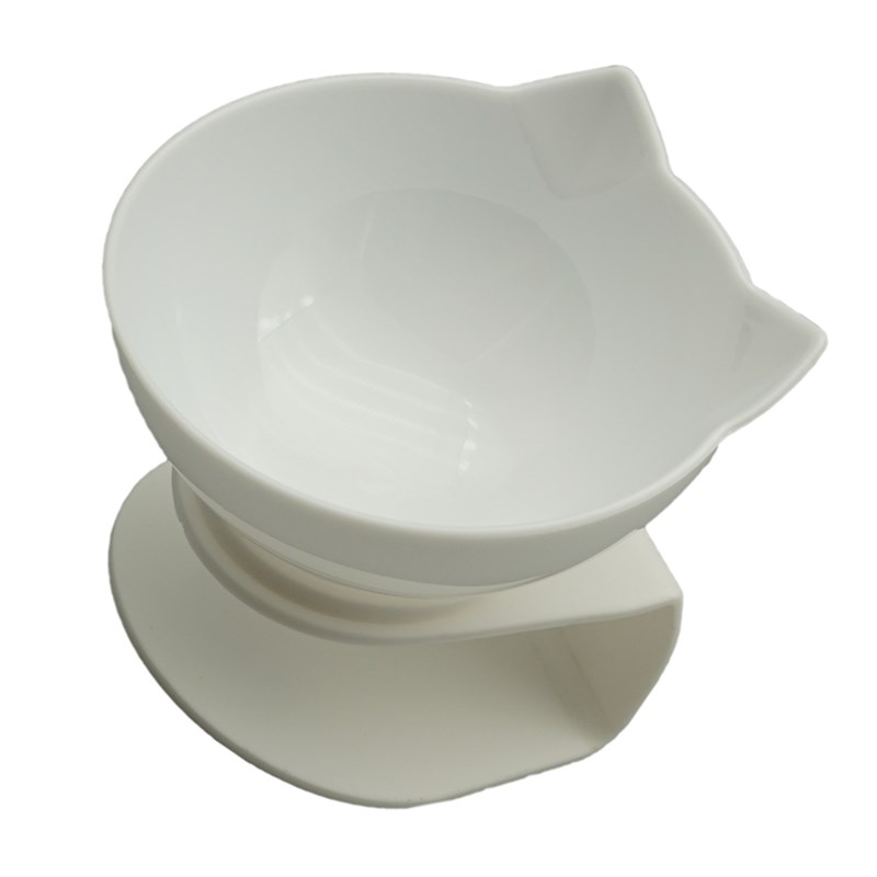White singel-Non-Slip Double Cat Bowl Dog Bowl With Stand Pet Feeding Cat