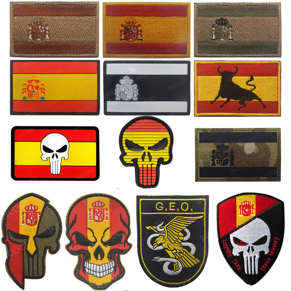 Spain Flag Embroidered Patches Tactical Military Morale Patch Skull Emblem Appliques Spanish Flags Rubber PVC Embroidery Badges(China)