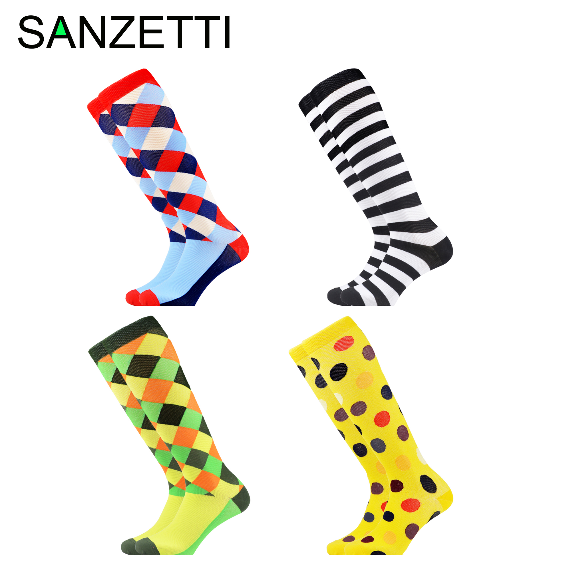 SANZETTI 4 Pairs/Lot Women Novelty Dot Striped Combed Cotton Compression Socks Below Knee Plaid Anti-Fatigue Long Colorful Socks