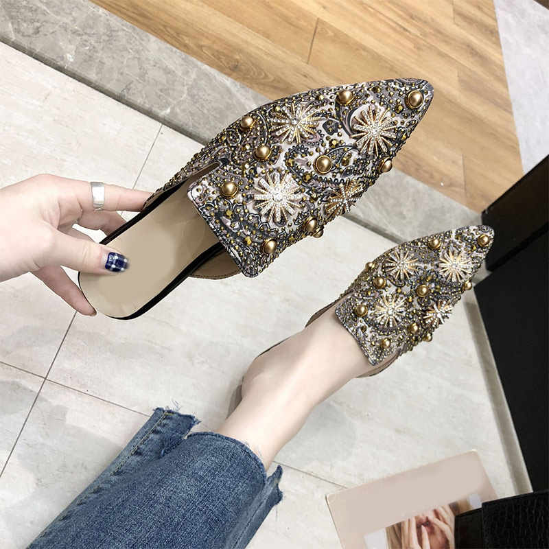 MCCKLE Neue Sommer Frauen Hausschuhe Sexy Spitz Frau Schuhe Mode Strass Bling Slip Auf Damen Druck Flache Schuhe