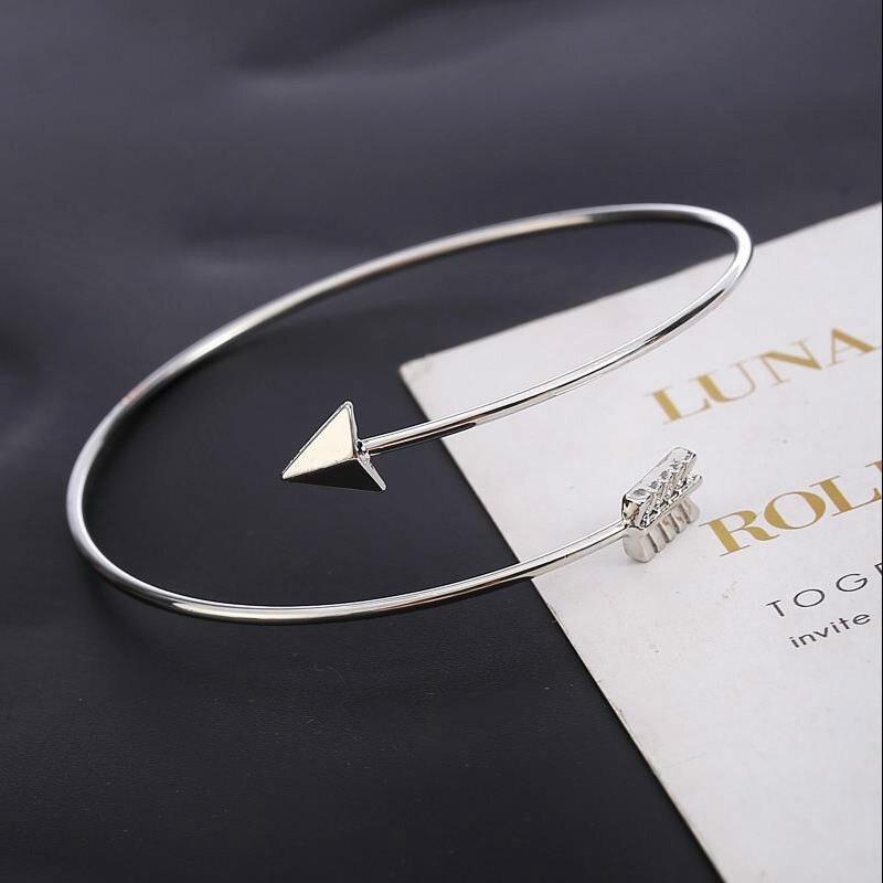 1 шт распродажа регулируемые браслеты-манжеты со стрелками для женщин модные простые готические браслеты на запястье с перьями Подарочные ...