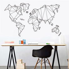 Vinyl Mural Decor-Stickers Removable World-Map Geometric Bedroom Living-Room Home Wall