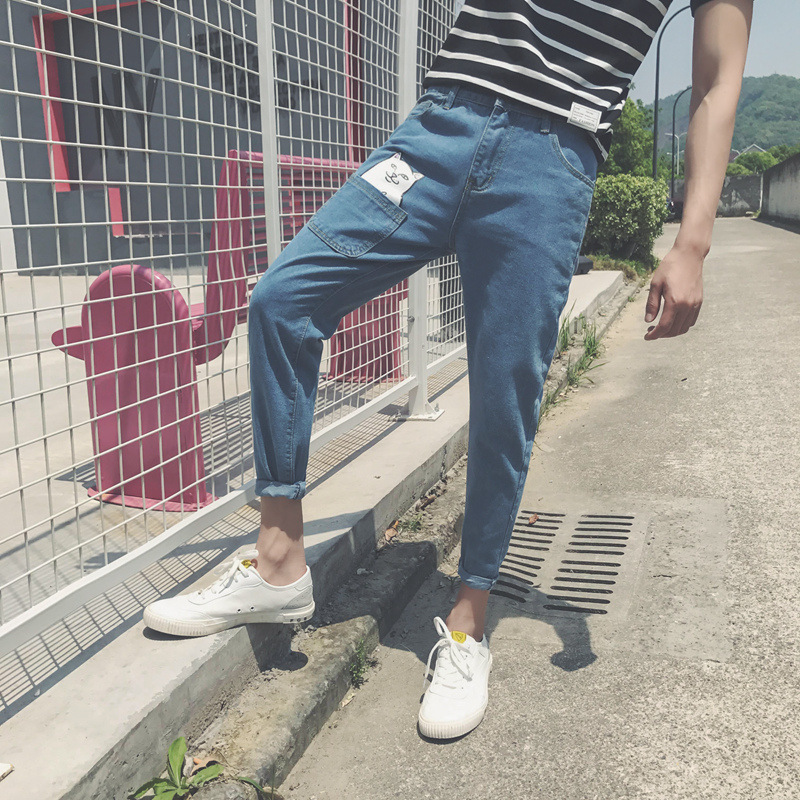Summer Thin Jeans Men's Teenager Men's Front Pocket Despising Cat Slim Fit Capri Pants Simple Korean-style Fashion Pants Men's