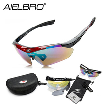 купить AIELBRO Polarized Sports Men Sunglasses Road Cycling Glasses Mountain Bike Bicycle Riding Protection Goggles Eyewear 5 Lens дешево