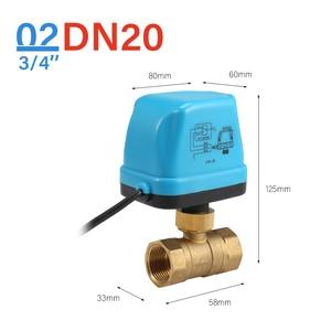 Image 3 - 12V Elektrik Motorlu kanallı küresel vana klima Su Sistemi Kontrolörü 2 Yollu 3 Wire 1.6Mpa G Konu DN15 DN20 DN25