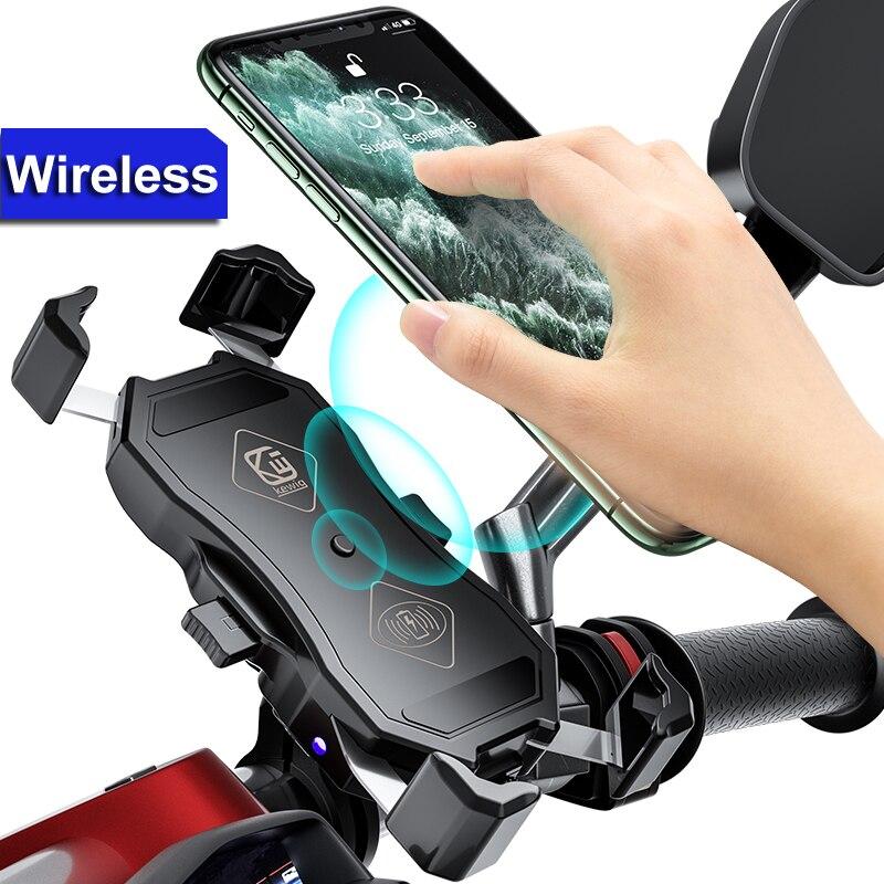 Motorcycle Phone Holder Support Qi Wireless Charger GPS Navigation Bracket Moto Motorbike Handlebar Mobile Cellphone Mount Clip