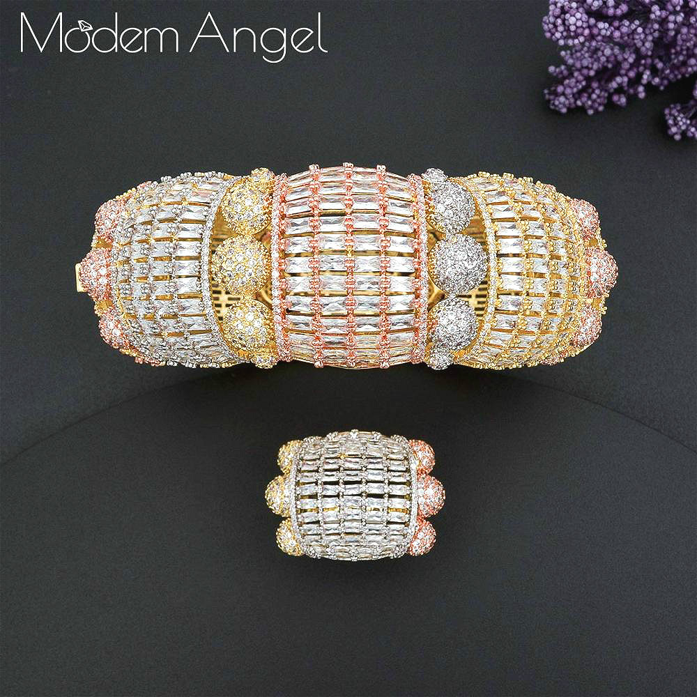 ModemAngel  Luxury Big Delicate Bangle Ring Set For Women Full Micro Cubic Zircon Pave Party Wedding Saudi Arabic Dubai Jewelry
