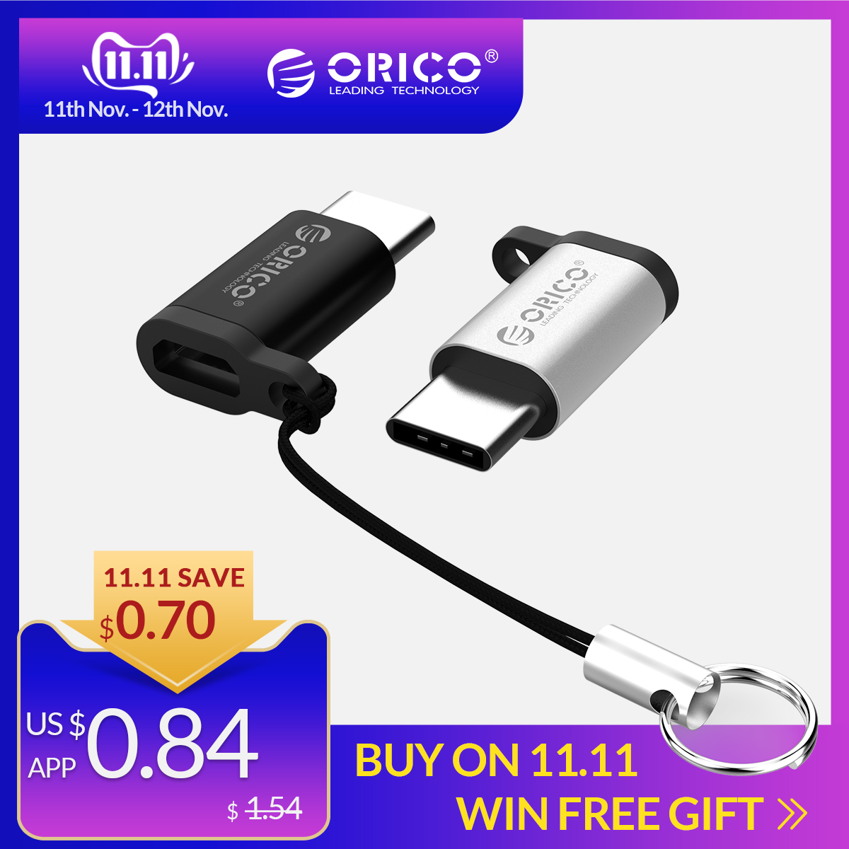 ORICO Micro B To Type C OTG Adapter USB-c USB 3.0 Converter Charging Data Sync Adapter For Xiaomi HUAWEI