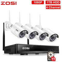 ZOSI 1080P 4 Channel CCTV System Wireless WIFI IP Camera Kit 1TB HDD Remote View in PC Monitor